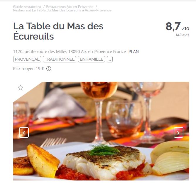 la fourchette table du mas restaurant