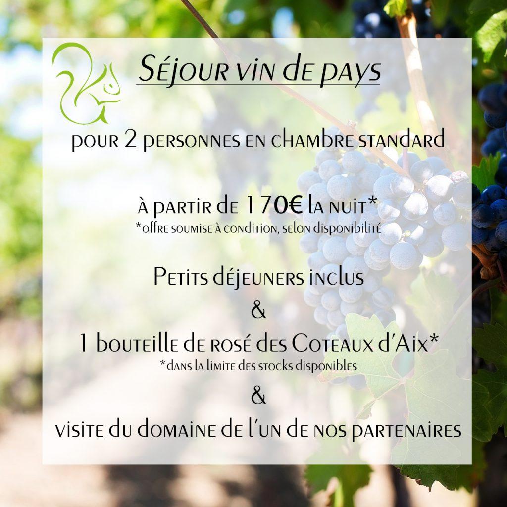 séjour 2018 vin de pays hôtel 3 étoiles Le Mas des Ecureuils